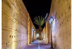Passageway at El Badi Palace in Marrakech, Morocco