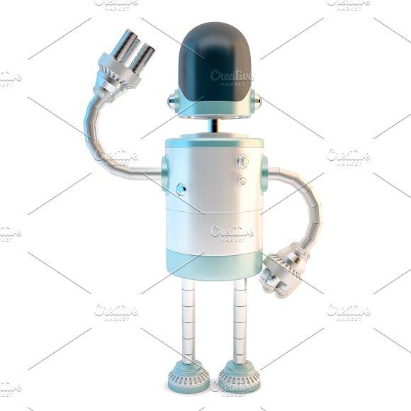 Waving Robot 3D Illustration Isola