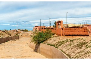 The dry Oued Issil river in Marrakesh, Morocco