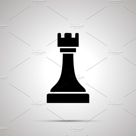 Simple Black Rook Chess Icon