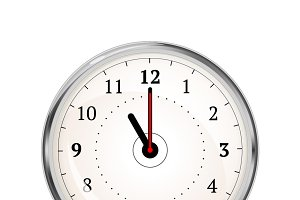 Realistic clock face showing 11-00