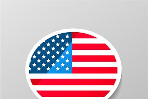 Speech bubble with USA flag