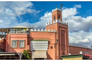 Building on Jamaa el Fna Square in Marrakesh, Morocco