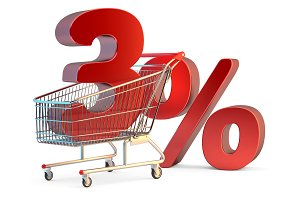 Shopping cart with 3% discount sign.
