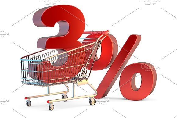 Shopping Cart With 3% Discount Sign