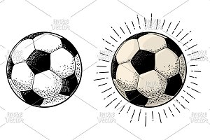 Soccer ball with ray. Engraving vintage vector black illustration.