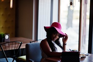 African american girl at cafe