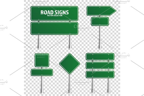 Road Green Traffic Sign Blank Board With Place For Text.Mockup Isolated On White Information Sign Direction Vector Illustration