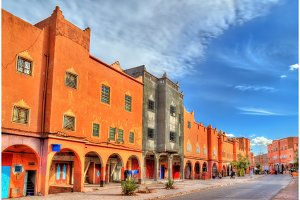 Street of Ouarzazate, a city in south-central Morocco