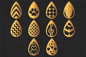Teardrop Earrings SVG, Pendant SVG.