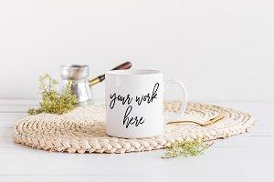 White Coffee Mug Mockup Styled Photo