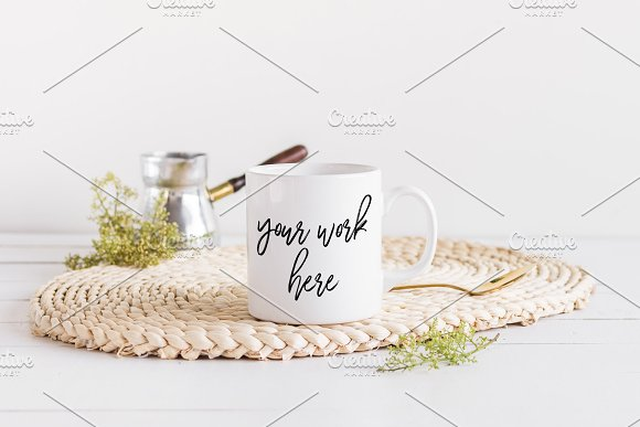 White Coffee Mug Mockup Styled Photo