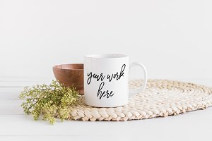White Coffee Mug Mockup Boho Styled