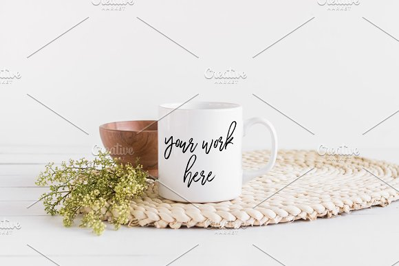 White Coffee Mug Mockup Boho Styled