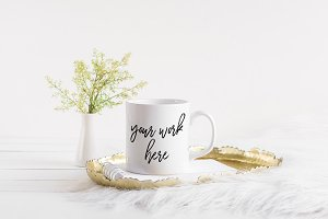 White Coffee Mug Mockup Gold Tray