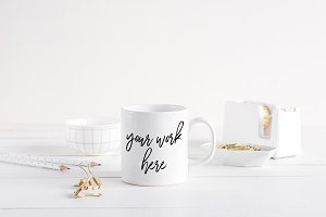 White Coffee Mug Mockup Scandinavian
