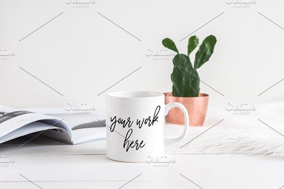White Coffee Mug Mockup Copper Plant