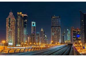 Skyline of Dubai downtown, UAE