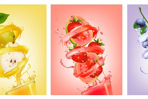 Set of fruit in juice splashes.