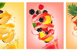 Set of fruit in juice splashes