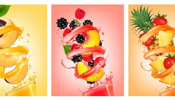Set Of Fruit In Juice Splashes
