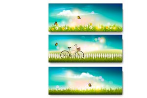 Summer nature landscape banners