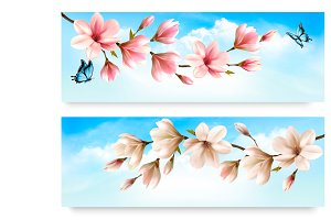 Two Nature banners with magnolia