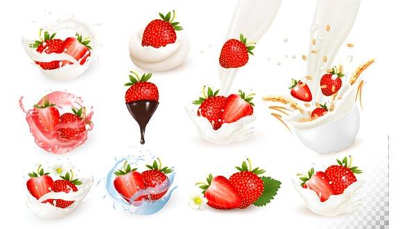 Set Of Ripe Sweet Strawberries