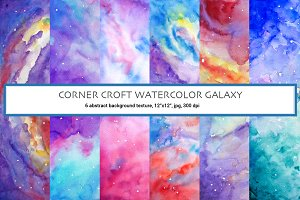 Watercolor Abstract Galaxy Clipart