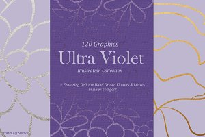 UltraViolet Flowers Illustration Set