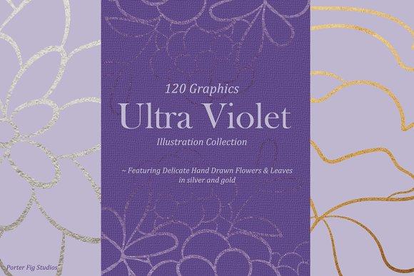 UltraViolet Flowers Illustration Set