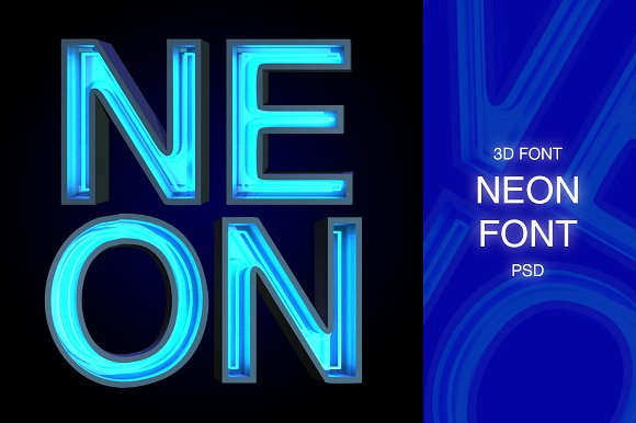 3D FONT   NEON   3D PSD