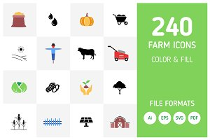 240 Agriculture and Farm Icon Set
