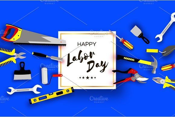 Happy Labor Day Greetings Card For National International Holiday Workers Tools In Paper Cut Styl On Sky Blue Square Frame Space For Text