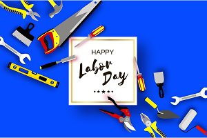 Happy Labor Day greetings card for national, international holiday. Workers tools in paper cut styl on sky blue. Square frame. Space for text.