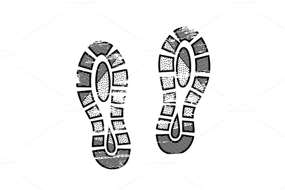 Footprints And Shoeprints Icon In Black And White Showing Bare Feet And The Imprint Of The Soles With Patterns Of Male And Female Footwear Shoes Boots Imprint