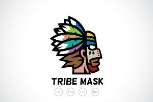Male with Tribe Mask Logo Template
