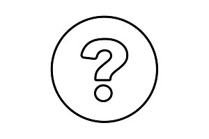 question mark line icon black