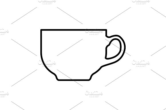 Coffee cup line icon black on white  in Graphics