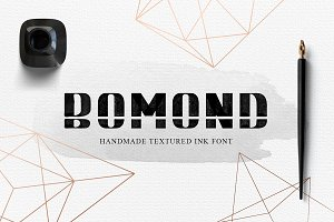 BOMOND. Textured Ink Font (SVG)