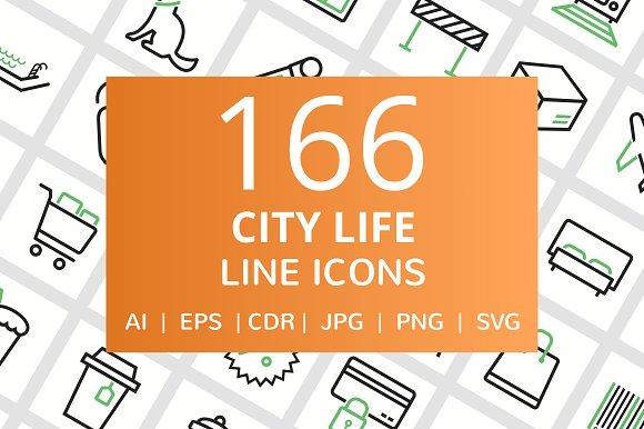 166 City Life Line Icons