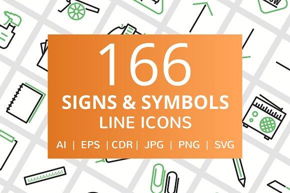 166 Signs Symbols Line Icons