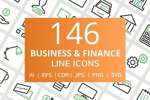 146 Business & Finance Line Icons