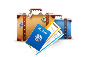 Retro suitcases, passport and airline