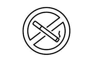 No smoking sign line icon. black