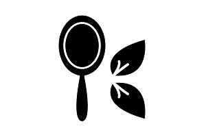 Hand Mirror line icon black on white