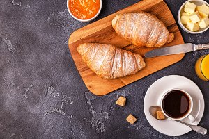 Breakfast with fresh croissants