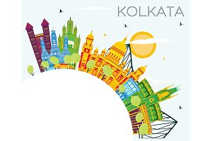 Kolkata India Skyline with Color
