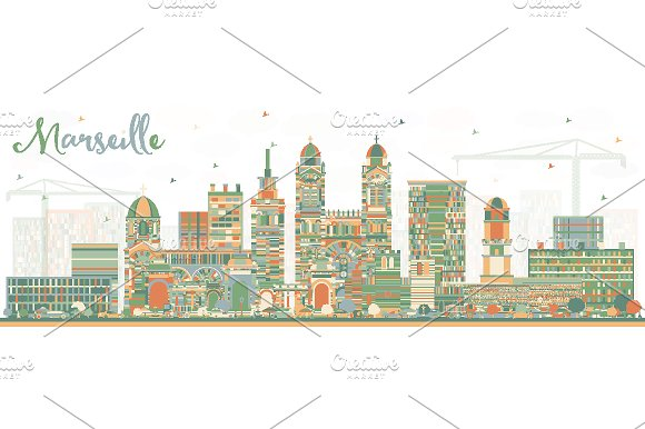 Marseille France City Skyline in Illustrations
