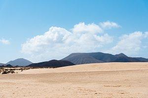 Scenic view of dunes of Corralejo in Fuerteventura